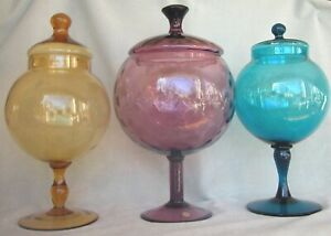 3 vintage extra-large architectural MCM colors Apothecary Jars, Empoli Italy