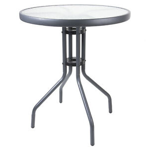 Round Bistro Table Anthracite Frame Glass Outdoor Garden Patio Furniture Cafe