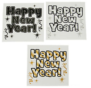 Happy New Year Party Temporary Tattoos - 2020 Bag Fillers - Pack Sizes 6 - 36