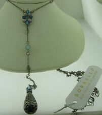 Sorrelli Teal Textile Necklace NDG13ASTT Antique silver tone