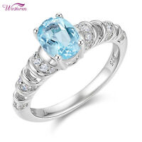 Sky Blue Topaz Gemstone Ring For Women White Cz 925 Sterling Silver Size 5-10
