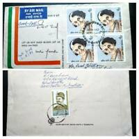 VERY RARE INDIA INDRA GANDHI POSTAY USED 1ST DAY COVER FDC TO AUSTRALIA UNIQUE