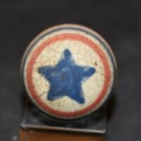 Very Rare Antique 1800's Akron Ohio ,Clay Patriot Star Marble Size .906 GC!