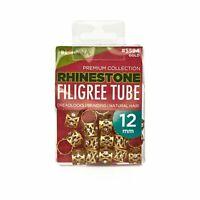 Filigree Tubes Hair Dreadlocks Braids Bead Cuff Clip Decoration Gold 12MM