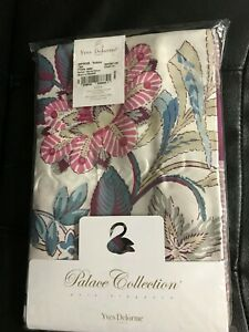 New Yves Delorme 2 King Shams Impression Rubino Blue Multi Floral Cotton Sateen