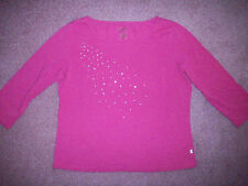 Women's shirt by Bay Studio dark pink Large cotton blend 3/4 sleeves
