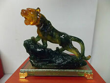 Chinese Art Figurine TIGER on Glass Stand