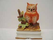 Royal Crown J Byron Musical Bisque Porcelain Owl Pristine Cond!- Sanyo musicbox