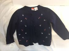 Girls Size 5 McKIDS 100% Cotton Navy Blue Sweater / Cardigan Floral Accent