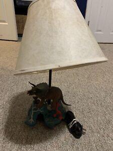 Custom Made Triceratops Dinosaur Childs Desk Table Night Light Lamp On Volcano