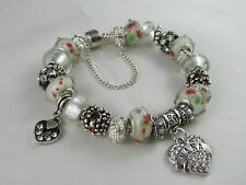 "BEAUTIFUL 925 SILVER STAMPED 21cm EUROPEAN STYLE CHARM BRACELET  "" NANA'S OWN """