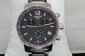 Tissot Quickster Chronograph Black w Red Accents Dial Mens Watch T095417A