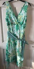 Sexy Green Sleeveless Floral print Summer Dress Size 12