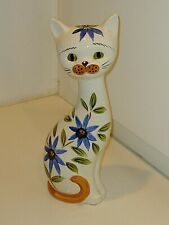 "Vintage 81/2"" Tall Floral Cat Figure Shaker Blue White"