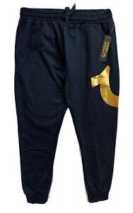 TRUE RELIGION Mens Gold Foil Logo Jogger Lounge Pants Sweatpants Black NWT M L