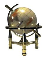 "6"" Tall Pearl Swirl Ocean Mini Table Top Gemstone World Globe (3"") w/Gold Tripod"