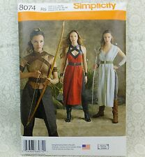 Simplicity 8074 Woman Archer Warrior Gown 3 looks Costume Sewing Pattern 14-22