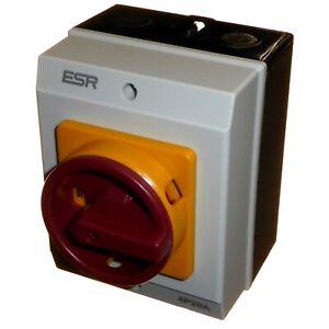 20 Amp 4 Pole Rotary Isolator ON / OFF Switch IP65 Weatherproof Lockable 20A