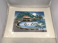 Asian Garden Lily Pads Pagoda Temple Scene Asian Style Painting Signed