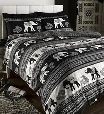 Empire Size Ethnic Indian Quilt Duvet Cover and 2 Pillowcase Bedding Set Black