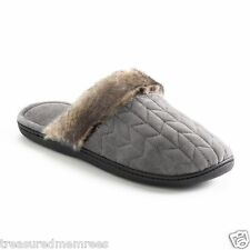 Isotoner Clog Slippers With Faux Fur Trim ~  Size Medium (7.5-8) ~ Gray ~ NWT