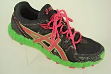 Asics Gel Fuji Trainer 2 T373N Women's Size 10 Athletic Shoes Black, Green, Pink