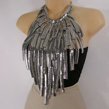 New women wide extra long fashion bib necklace earrings set multi silver chains
