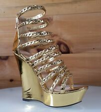 "Athena Chic Gold Multiple Chain Strap 5.5"" High Heel Wedge Shoes"