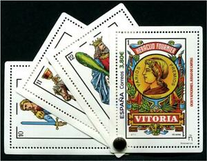SPAIN 2020 CARD GAMES PLAYING CARD SOUVENIR SHEET OF 1 STAMP WITH 3 LABELS MINT