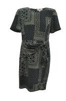 ** Valentino ** Pure Silk Vintage Dress ** Navy & Sage Pattern ** 46/12 **