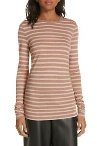 VINCE. Women's Heather Stripe Top Heather Rose / Oat Extra Small XS NEW $125.00