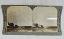 Stereopticon Card German Shells Bursting British Trenches Loos France 18088