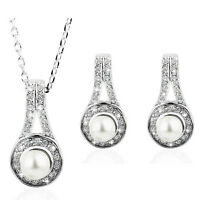 Bridal Weddings White Pearl and Silver Jewellery Set Drop Earrings Necklace S576