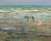 Dream-art Oil painting impressionism seascape people ocean waves by beach canvas