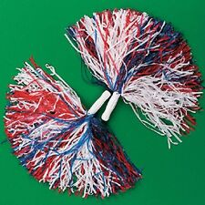 2 Red White & Blue Patriotic Cheerleader Pom Poms Cheerleading Party Favors
