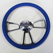 """New! Nova Chevelle Steering Wheel Sky Blue Billet 14"""" SS Center Cap"""