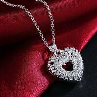 Elegant 925 Sterling Silver New Fashion Women Heart Necklace (Pendant + Chain)