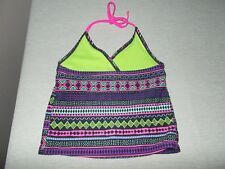 Xhilaration NWOT Girls Size M (7-8) Tankini Halter Top Multi-Color Lined