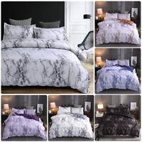 3Pcs Marble Printed Duvet Cover Set Brushed Microfiber Comforter Bedding Quilt