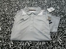 "Nwt ""Adidas"" Scorch Climacool Sc Polo Shirt Light Gray/White Womens Large T2343"