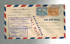 1930 Panama First Flight Cover FFC Colon to Kingston Jamaica BWI  3