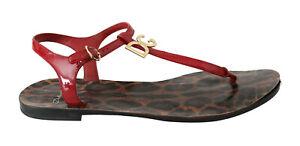 DOLCE & GABBANA Shoes Red Leopard DG Logo Flip Flops Beachwear EU40 / US9.5