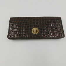 Antonio Melani Womens Clutch Purse Brown Patent Leather Embossed Mock Croc
