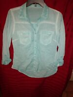 Maurices Juniors Small Long Sleeve Button Down Shirt Teal