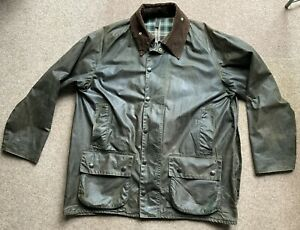 Barbour Beaufort Green Waxed Mens Jacket Size 44 in