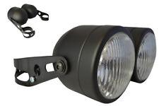 Streetfighter Retro Trike Motorbike 35W Headlights BLACK with 32-40mm Brackets