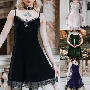 Women Sleeveless Gothic Velvet Lace MIni Dress Girls Lolita Party Sling Dress UK