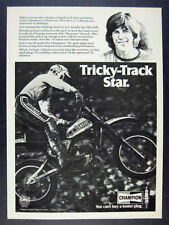 1978 Mike Bell Superbowl of Motocross Win photo Champion Plugs vintage print Ad