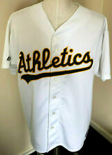 Men's Majestic Oakland Athletics #4 Miguel Tejada Sewn White Jersey Size 2XL