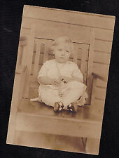 Vintage Antique Photograph Adorable Little Girl Wearing Pearls Sitting in Chair